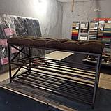 Банкетка Loft для обуви, Пуф с полками для обуви. Каретная стяжка, 70 см, фото 2