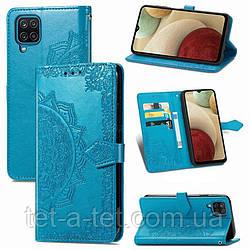 Кожаный чехол (книжка) Art Case с визитницей для Samsung Galaxy A12 - Синий