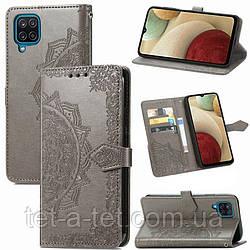 Кожаный чехол (книжка) Art Case с визитницей для Samsung Galaxy A12 - Серый