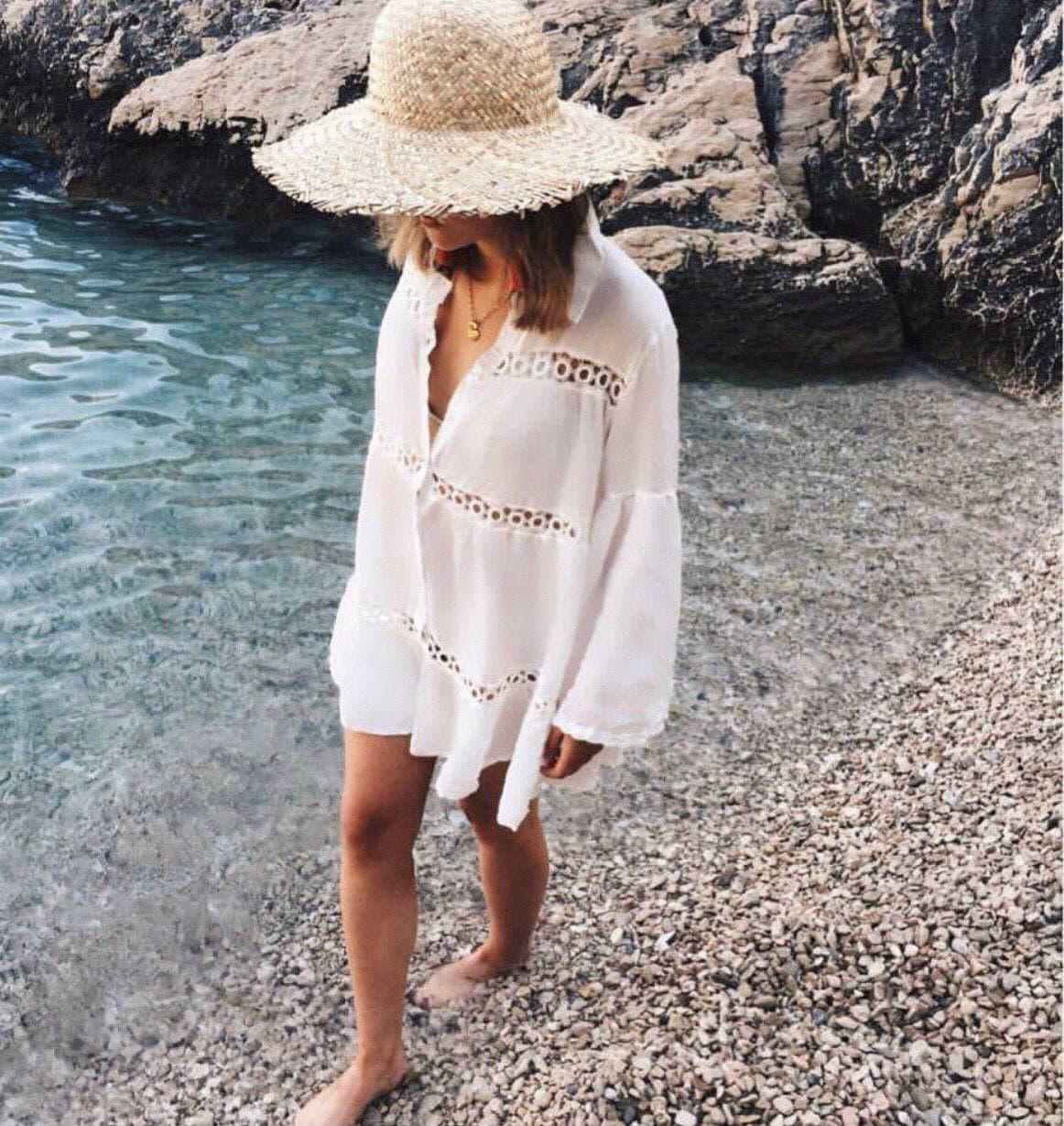 Бавовняна пляжна сорочка жіноча вільного крою з мереживом (р. S-L) 6825727