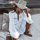 Бавовняна пляжна сорочка жіноча вільного крою з мереживом (р. S-L) 6825727, фото 2