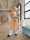 Демісезонне пальто з кашеміру на запах під пояс з відкладним коміром (р. 42-46) 1702190, фото 5