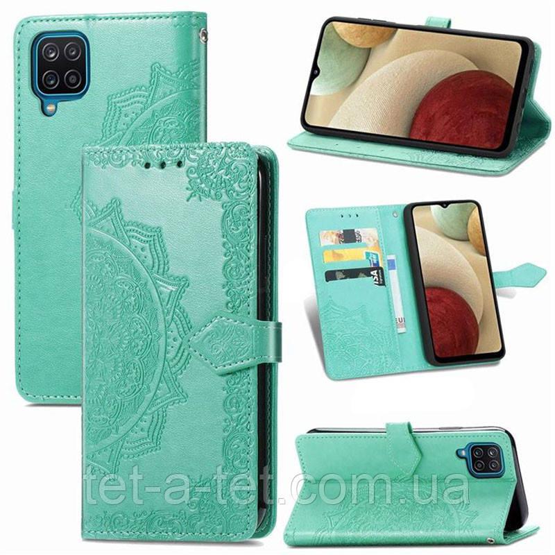 Кожаный чехол (книжка) Art Case с визитницей для Samsung Galaxy A12 - Бирюзовый