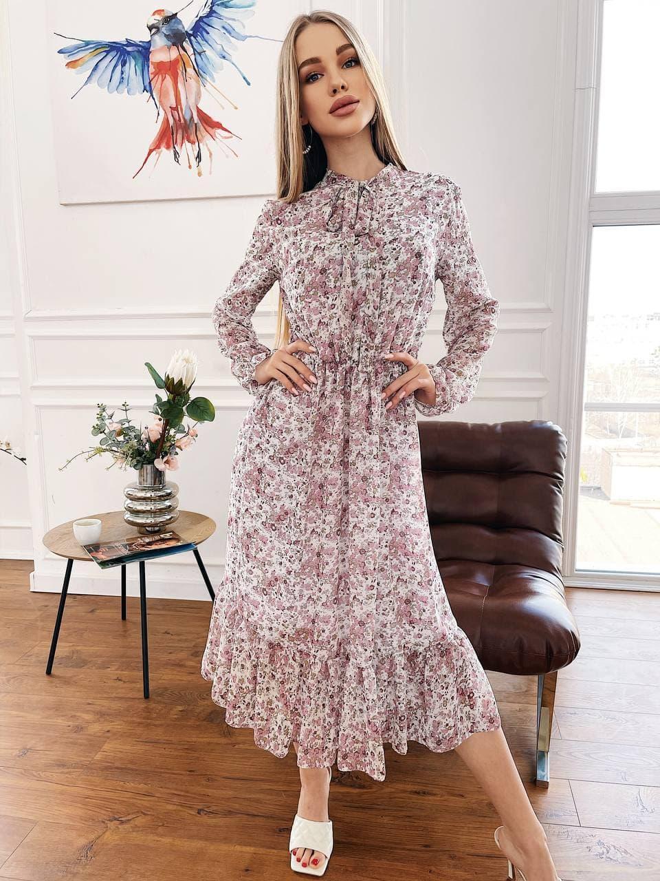 Шифоновое платье в цветочный принт с оборками и бантом (р. S-L) 4py2344