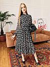 Шифоновое платье в цветочный принт с оборками и бантом (р. S-L) 4py2344, фото 9
