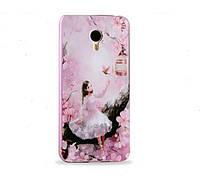 Чехол-пенал, бампер для Meizu M2 Note 3D рисунок, составной, материал алюминий/пластик, розовый цвет