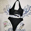 Черный сдельный купальник открытый женский с кольцами (р. S,M,L) 61kl733, фото 2