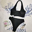 Черный сдельный купальник открытый женский с кольцами (р. S,M,L) 61kl733, фото 5