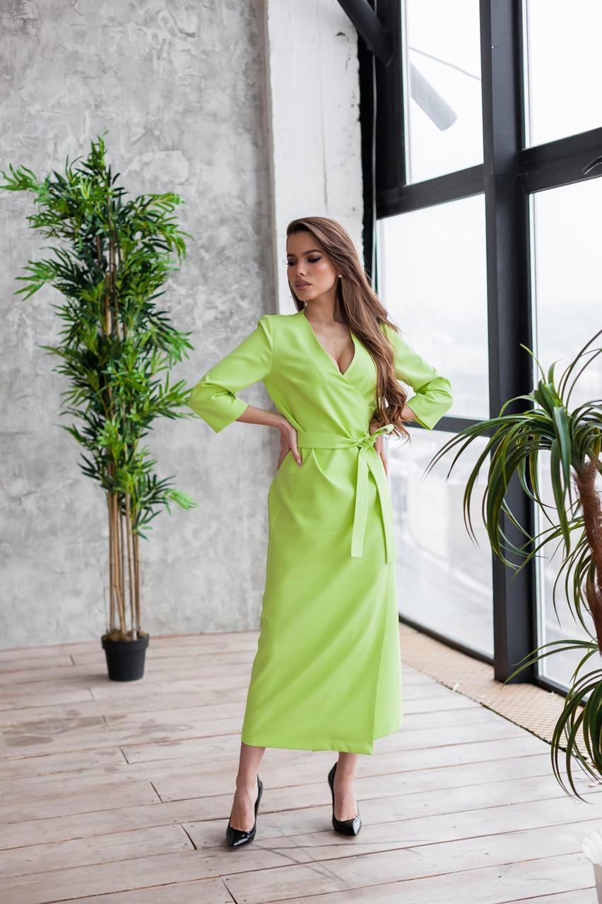 Длинное платье на запах с поясом с рукавом 7/8 нарядное (р. S-L) 60py2354