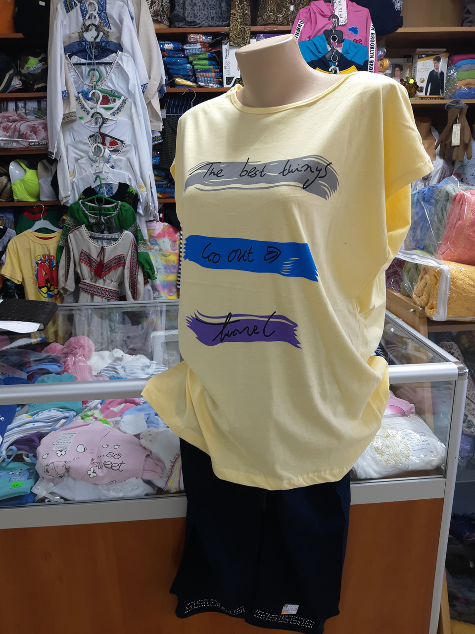 Женский летний костюм футболка бриджи большие размеры 54 56