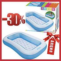 Надувной бассейн детский прямоугольный голубой Детские бассейны Intex, 166Х100Х28 см Intex 57403