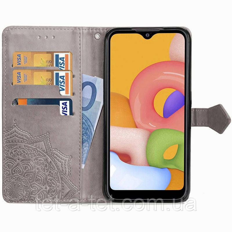 Кожаный чехол (книжка) Art Case с визитницей для Xiaomi Readmi 9C - Серый
