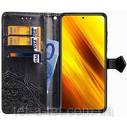 Кожаный чехол (книжка) Art Case с визитницей для Xiaomi Readmi Note 10 - Черный