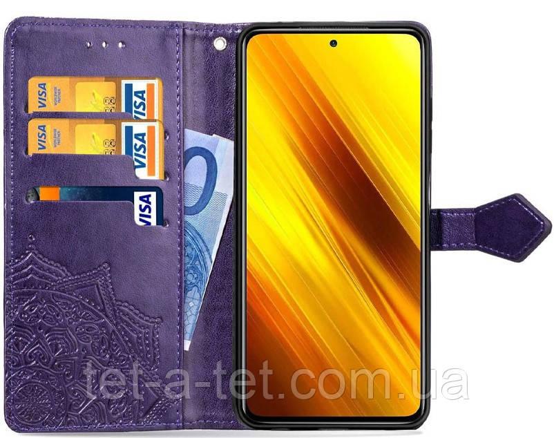 Шкіряний чохол (книжка) Art Case з візитницею для Xiaomi Readmi Note 10 - Фіолетовий