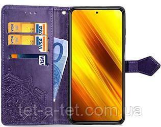 Кожаный чехол (книжка) Art Case с визитницей для Xiaomi Readmi Note 10 - Фиолетовый