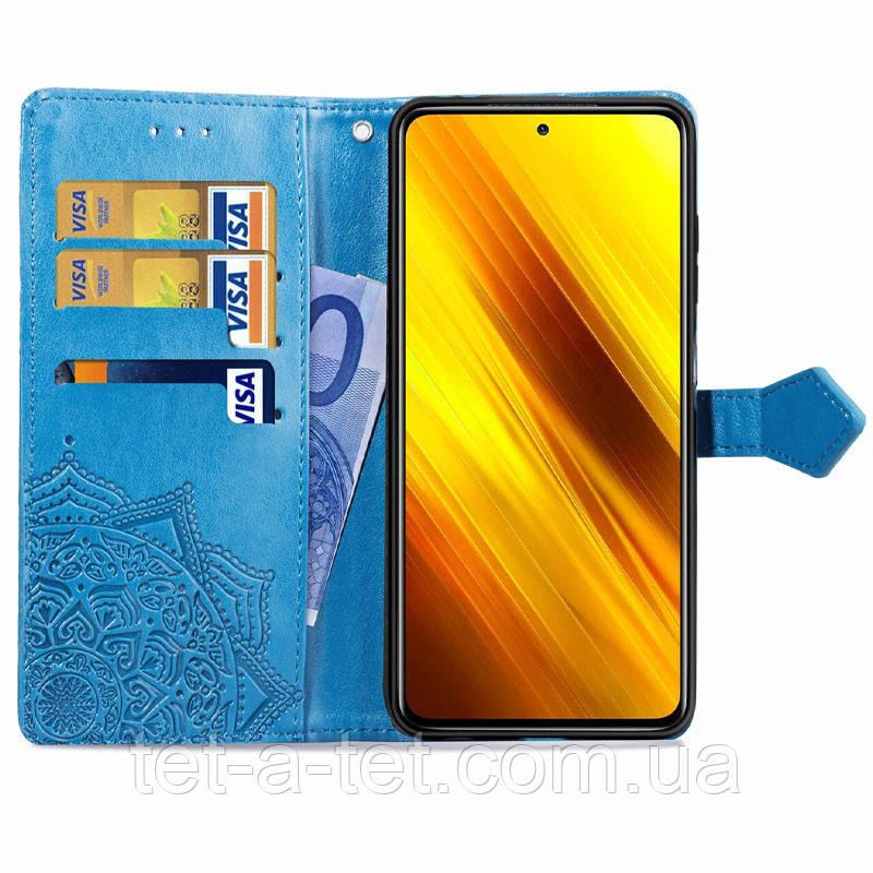 Шкіряний чохол (книжка) Art Case з візитницею для Xiaomi Readmi Note 10 - Синій