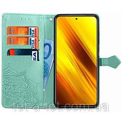Кожаный чехол (книжка) Art Case с визитницей для Xiaomi Readmi Note 10 - Бирюзовый