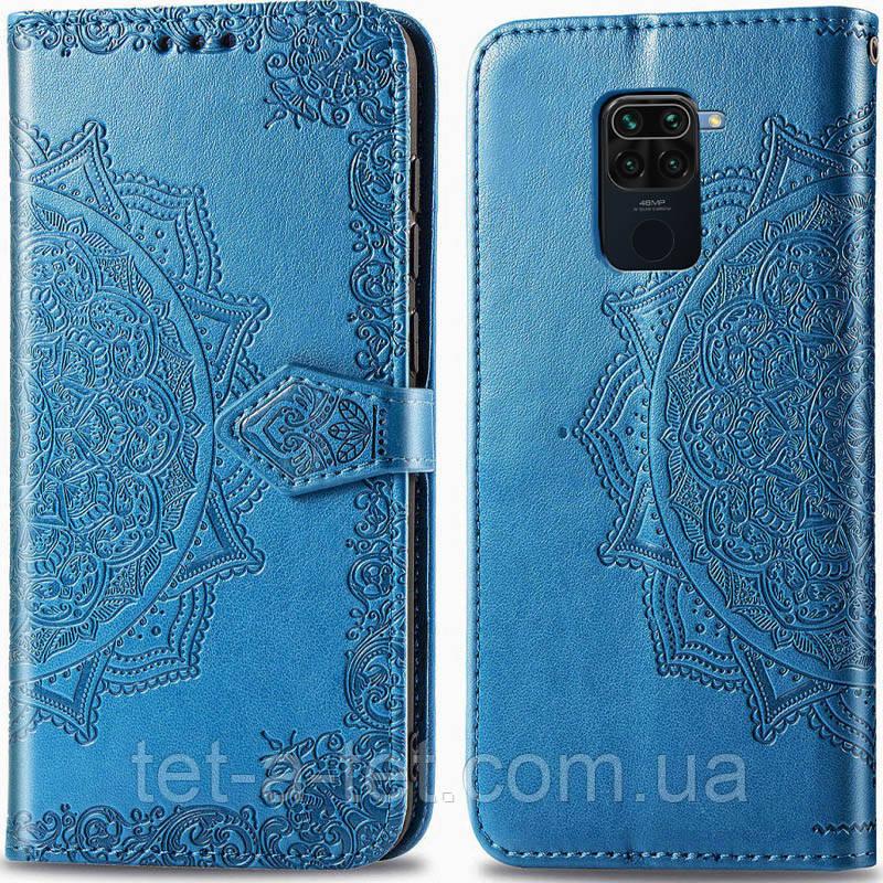 Шкіряний чохол (книжка) Art Case з візитницею для Xiaomi Readmi Note 9 - Синій