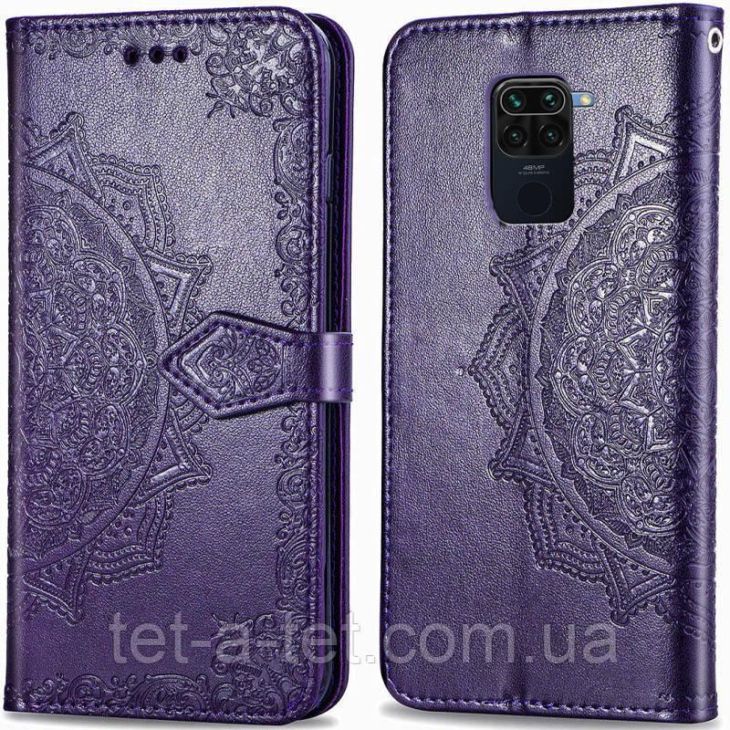 Шкіряний чохол (книжка) Art Case з візитницею для Xiaomi Readmi Note 9 - Фіолетовий