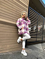 Жіноча стильна тепла сорочка з довгим рукавом в клітку, фото 1