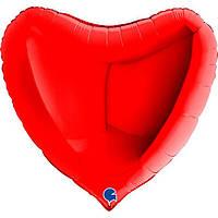 """Фольгированный большой воздушный шар Grabo Сердце Красное без рисунка 36"""" 91 см"""