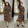Сукня двійка з принтованной тканини,Тканина: шифон, креп-ластик з довгим рукавом(44-56)