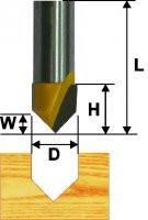 Фреза пазовая галтельная V-образная ф12.7, 90°, хв.8мм (арт.9308)