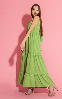 Длинный зеленый женский сарафан