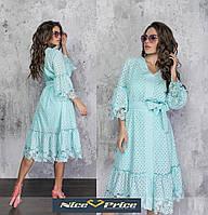 Шикарное летнее платье двойка из прошвы с кружевом,мятное 42-44,46-48