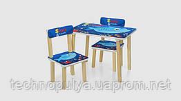 Столик і 2 стільці зі стільницею 501-74 60х40х42см дерево Shark Синій (KI00639)