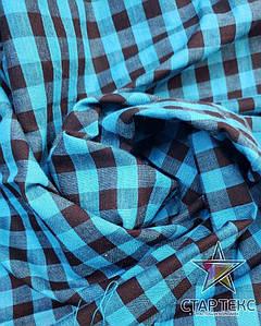 Рубашечная ткань клетка бирюза черная