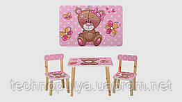 Столик і 2 стільці 501-9 дерево Ведмедик Рожевий (KI00862)