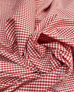 Рубашечная ткань клетка красно белая