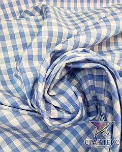 Рубашечная ткань клетка Крупная бело голубая