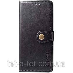 Кожаный чехол книжка GETMAN Gallant для Samsung Galaxy A12 - Черный
