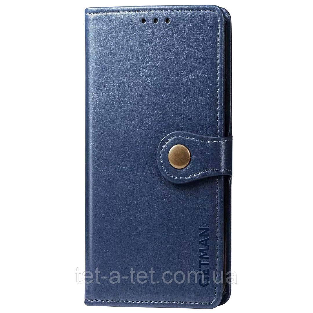 Кожаный чехол книжка GETMAN Gallant для Samsung Galaxy A12 - Синий