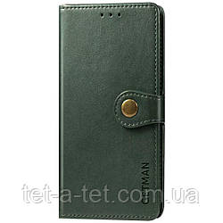 Кожаный чехол книжка GETMAN Gallant для Samsung Galaxy A12 - Зеленый