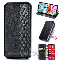 Кожаный чехол книжка GETMAN Cubic для Samsung Galaxy A12 - Черный