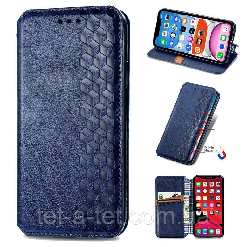 Кожаный чехол книжка GETMAN Cubic для Samsung Galaxy A12 - Синий