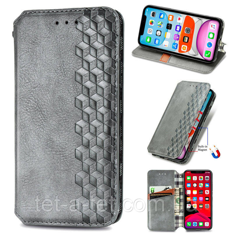 Кожаный чехол книжка GETMAN Cubic для Samsung Galaxy A12 /M12  Gray (cерый)