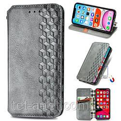 Кожаный чехол книжка GETMAN Cubic для Samsung Galaxy A12 - Серый