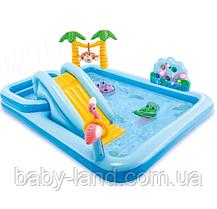 """Дитячий надувний ігровий центр з гіркою """"Пригоди у джунглях"""" Intex 57161"""