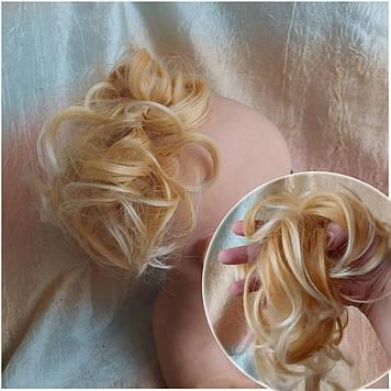 Резинка шиньон из термоволос медовый блонд 0215A-144Т613