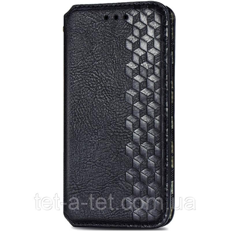 Кожаный чехол книжка GETMAN Cubic с визитницей для Xiaomi Readmi Note 9 - Черный
