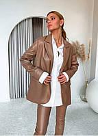 Женский стильный брючный костюм из эко-кожи, фото 1