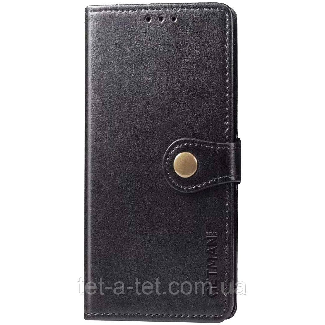 Кожаный чехол книжка GETMAN Gallant с визитницей для Xiaomi Redmi Note 9 / Redmi 10X (Черный)