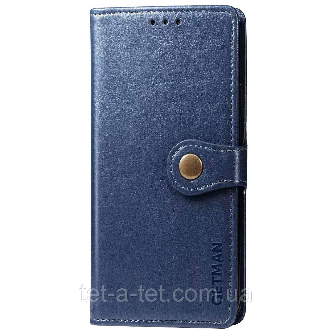 Шкіряний чохол книжка GETMAN Gallant з візитницею для Xiaomi Readmi Note 9 - Синій