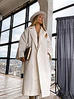 Жіноче кашемірове пальто прямого крою на один гудзик, фото 1