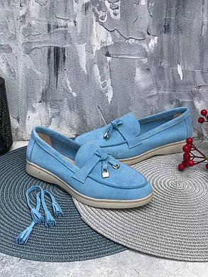 Голубые слипоны лоферы из замши на низком ходу, цвет светло-фиолетовый, размеры от 36 до 41, фото 2