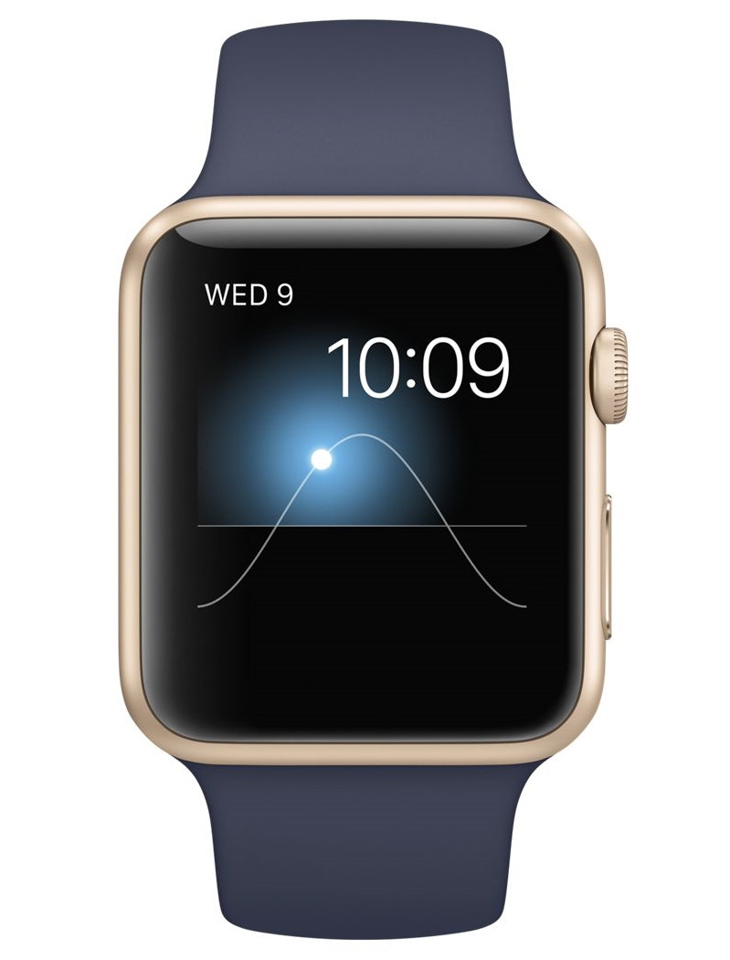 Apple 42mm Gold Aluminum Case with Midnight Blue Sport Band (MLC72)